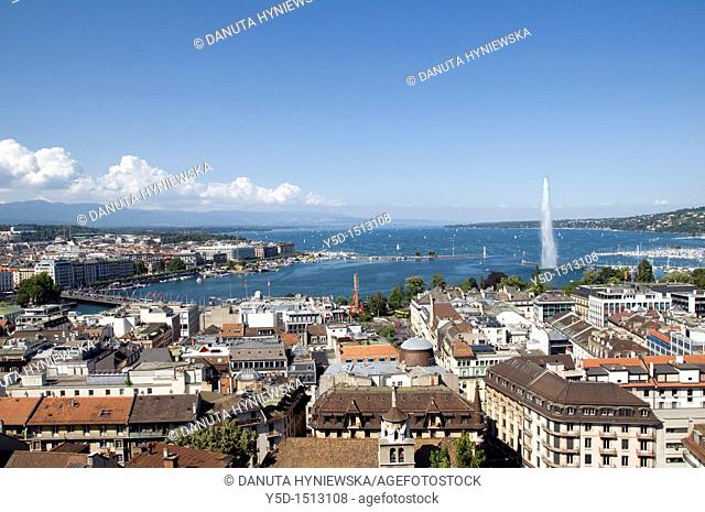 panorama of town of Geneva, Geneva Lake, Switzerland, Europe