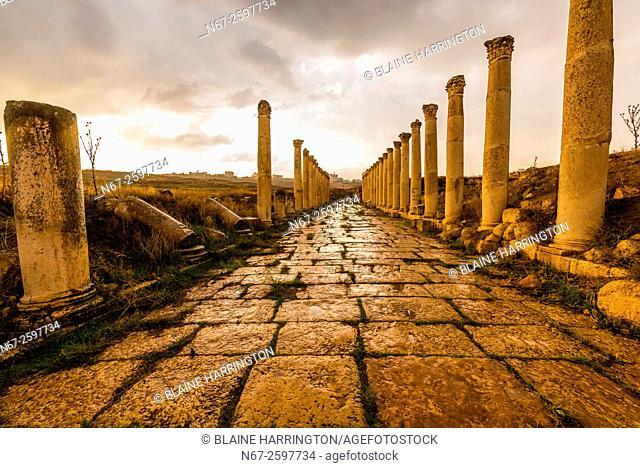 "The South Decumanus at Jerash once served as the Roman town's main eastâ. ""west axis. Greco-Roman Ruins, Jerash, Jordan"
