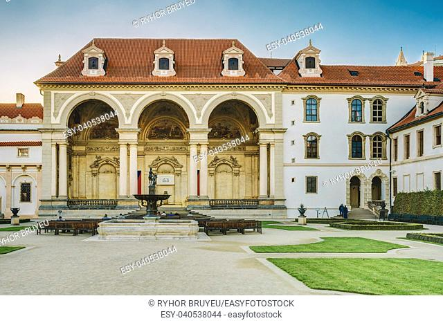 PRAGUE, CZECH REPUBLIC - OCTOBER 9, 2014: Building of Senate of Czech Republic in Prague in the Wallenstein Garden