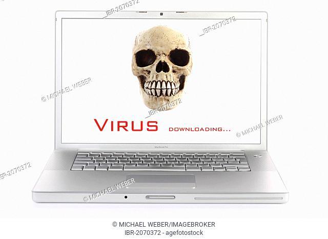 Laptop computer, skull, lettering virus, symbolic image for virus alert