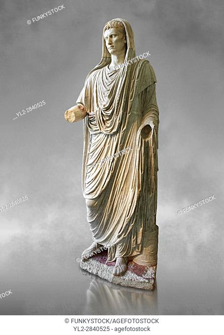 Roman statue of Augustus as Pontifex Maximus, circa 17-14 BC. This statue of Augustus was typical of the approved style that Augustus used to control his public...