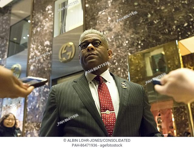 Former Florida Congressman and Retired Lt. Colonel Allen West upon his arrival at the lobby of Trump Tower in New York, USA, 12 December 2016