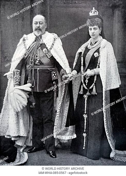 Photograph of King Edward VII (1841-1910) and Queen Alexandra of Denmark (1844-1925) wearing the robes in which they would open parliament