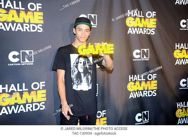 Pro skater Nyjah Huston attends the Third Annual Hall of Game Awards hosted by Cartoon Network at Barker Hangar on February 9, 2013 in Santa Monica, California