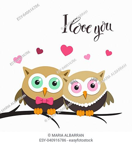 Couple of owls in love on a white background and message. Vector illustration