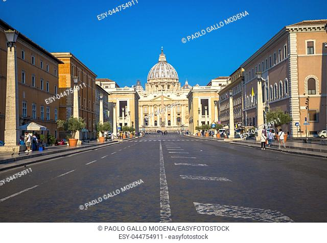 ROME, VATICAN STATE - AUGUST 20, 2018: Saint Peter Cathedral in Vatican with the famous Cupola, early morning daylight and still few tourists