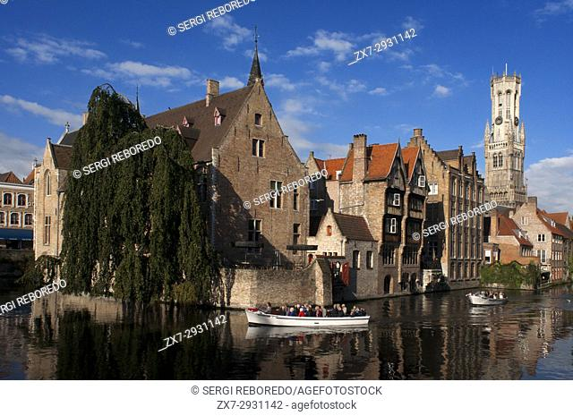 The Belfry of Bruges, Belfort (Medieval Bell Tower), Rozenhoedkaai, Bridge over Dijver Canal. Belfry Tower And Dijver Canal