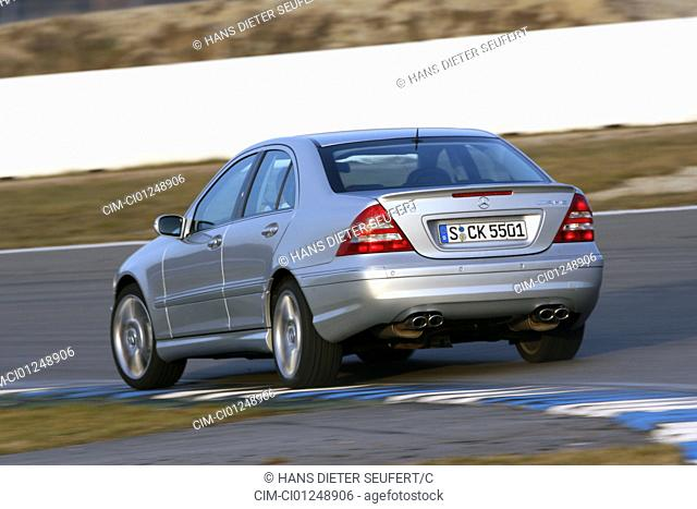 Car, Mercedes C55 AMG, Limousine, medium class, model year 2005-, silver, driving, diagonal from the back, rear view, Test track