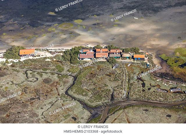 France, Gironde, Arcachon, wooden houses on L'IIe aux Oiseaux (aerial view)