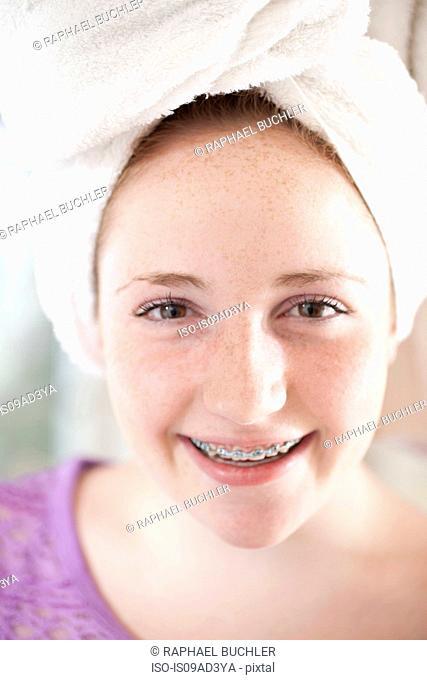 Girl with towel turban