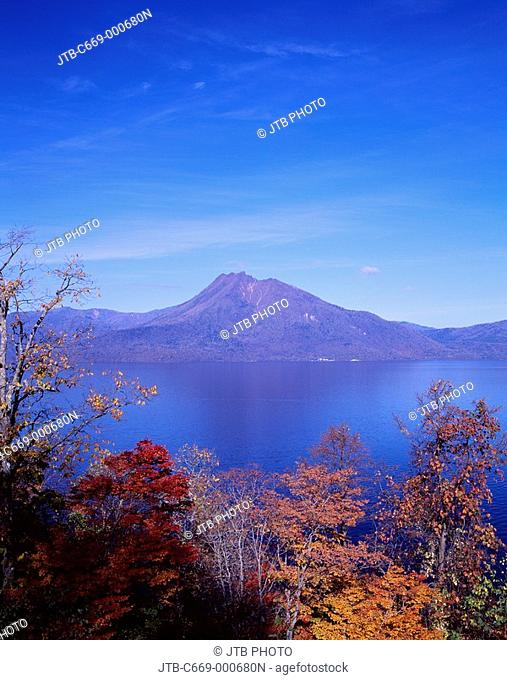 Red leaves yellow leaves Mountain Blue sky Autumn Lake Shikotsu Chitose Hokkaido South Hokkaido Japan