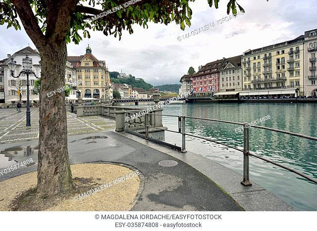 View of the city of Lucerne and Gutsch castle in Switzerland