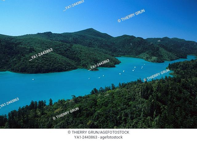 Australia, Queensland, Whitsunday island, Bay at South East aerial view