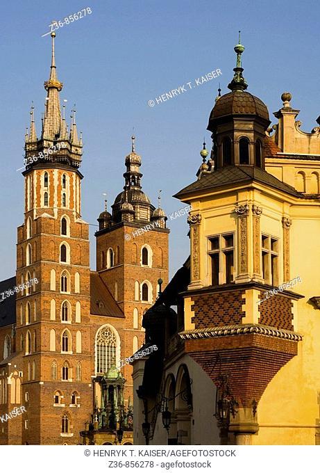 Krakow Poland Cloth Hall  Sukiennice  and St Mary's  Mariacki  Church at Main Market Square  Rynek Glowny  Old Town