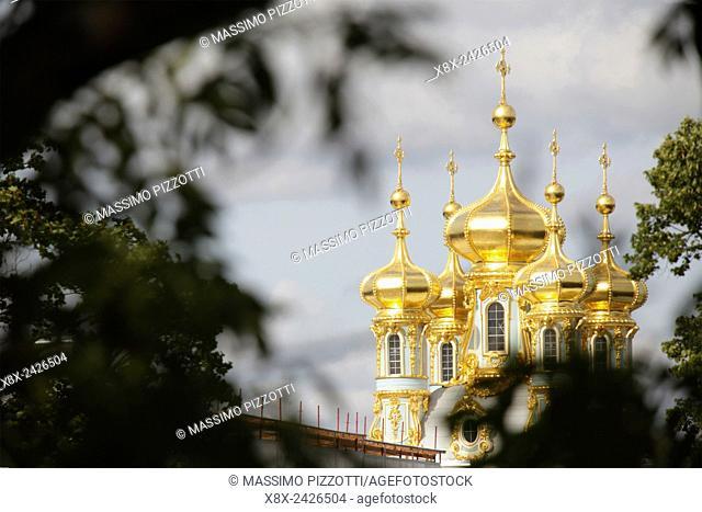 Golden dome of Catherine Palace, located in Tsarskoye Selo (Pushkin),Saint Petersburg, Russia