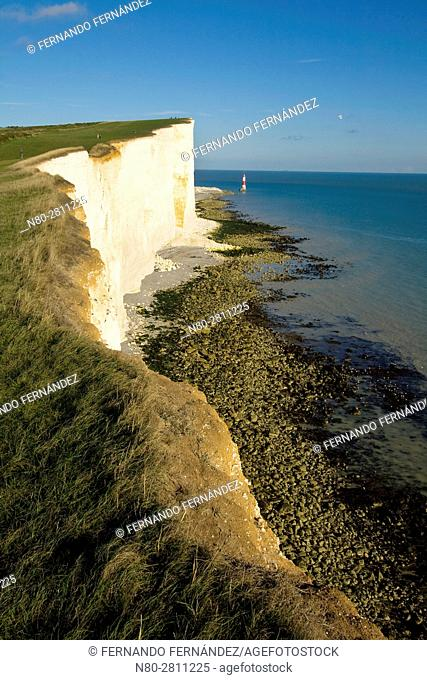 Seven Sisters. Chalk cliffs. South Downs National Park. East Sussex. England