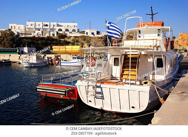 Fishing boats at the pier, Folegandros, Cyclades Islands, Greek Islands, Greece, Europe
