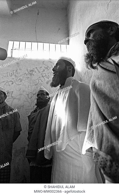 The imam Maulana Mannan in the court jail in Moulvibazaar giving an interview to the media