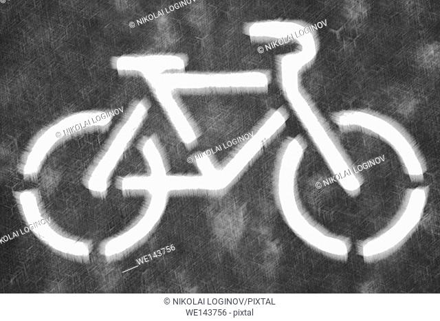 Black and white bicycle symbol on blurred background