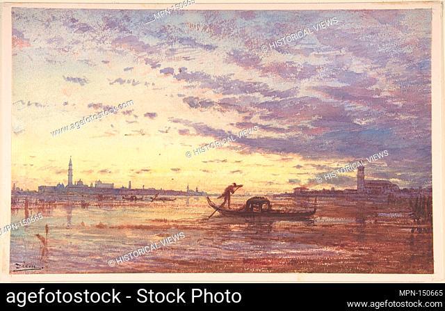 Venice. Artist: Félix-François-Georges-Philibert Ziem (French, Beaune 1821-1911 Paris); Date: n.d; Medium: Watercolor on paper; Dimensions: 8 x 12 3/4 in