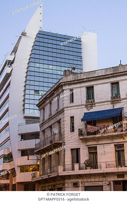 CONTRAST BETWEEN MODERN BUILDINGS AND AN OLD ONE, HASSAN SGHIR BOULEVARD, CASABLANCA, MOROCCO, AFRICA