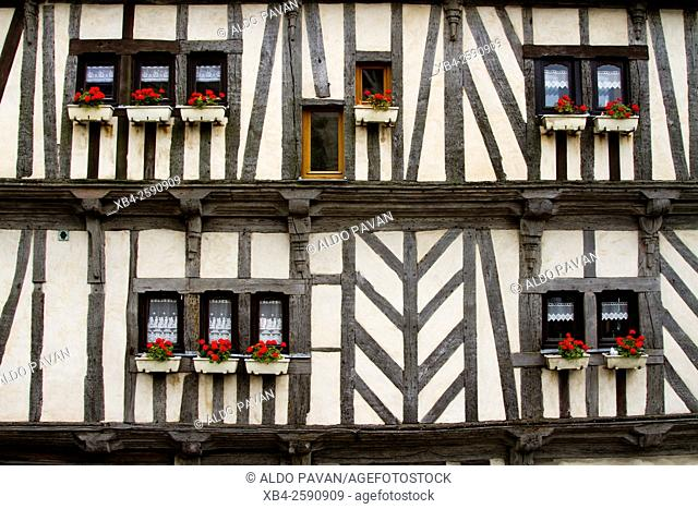 Facade of historic building, Vannes, Brittany, France