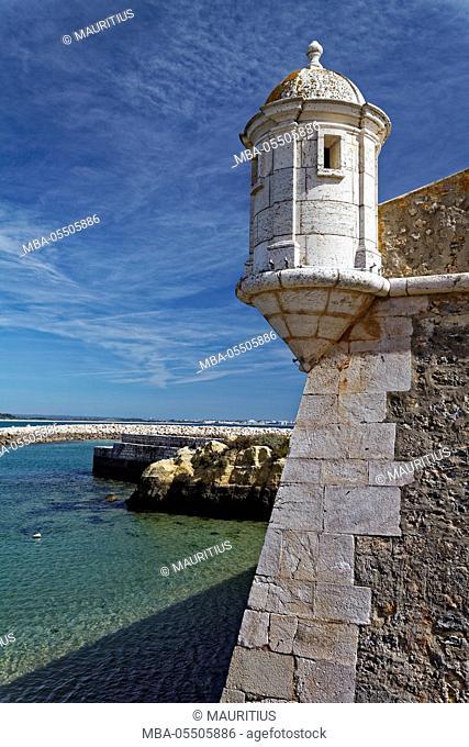 Fortress Ponta da Bandeira in Lagos, Algarve, Portugal, Europe