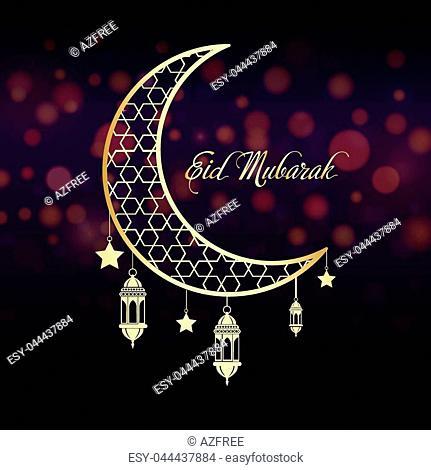 Eid Mubarak greeting card for Islam holiday. Vector