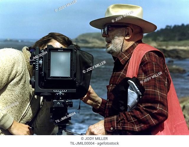 Ansel Adams working at Point Lobos, California during our 1982 Friends of Photography workshop