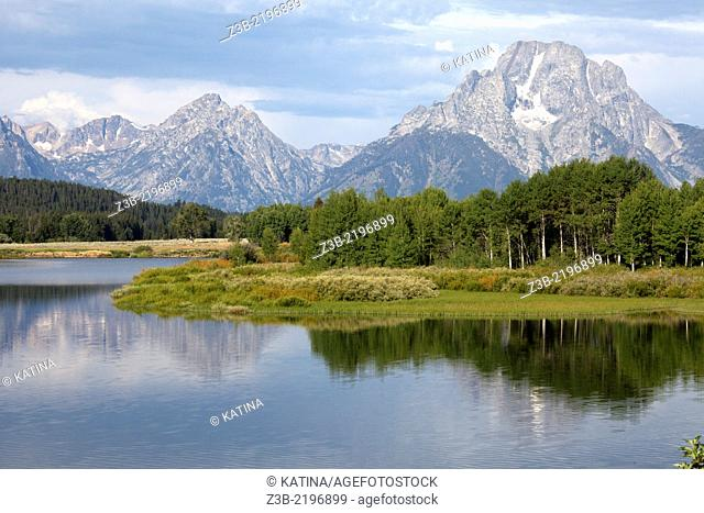 View of Mount Moran in the distance across Snake RIver, Grand Teton National Park, Wyoming, USA