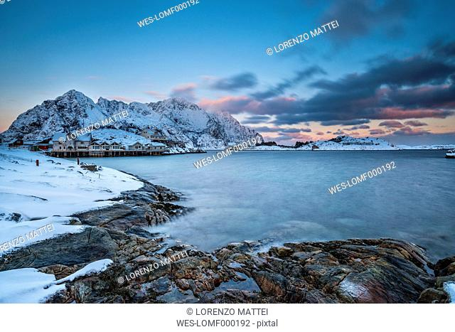 Norway, Lofoten Islands, Henningsvajer town at sunset in winter