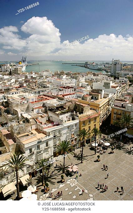 Panoramic view from the Cathedral, Cadiz, Region of Andalusia, Spain, Europe