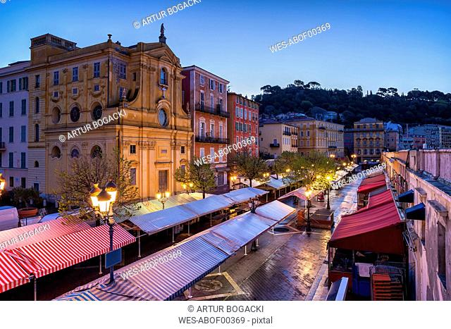 France, Provence-Alpes-Cote d'Azur, Nice, Old town, Cours Saleya, market at dawn