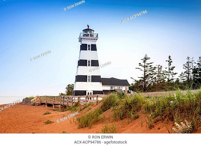West Point Lighthouse in Cedar Dunes Provincial Park, Prince Edward Island, Canada