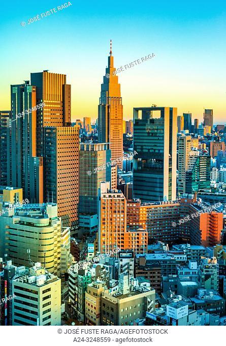 Japan, Tokyo City, Shinjuku ward, Shinjuku Station South Side skyline
