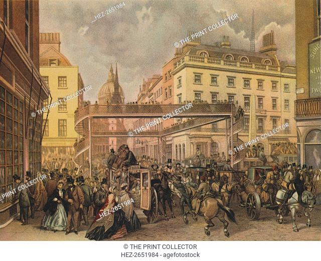 Design for a new footbridge at the crossing Ludgate Hill and Fleet Street, City of London, 1862. A busy mid-Victorian street scene
