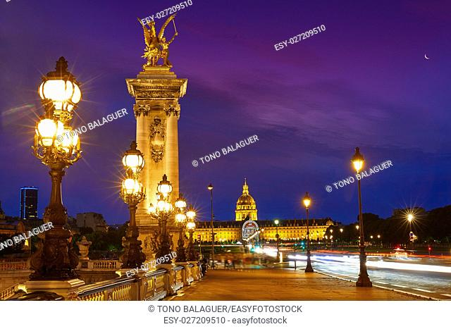 Pont Alexandre III in Paris France sunset over Seine river