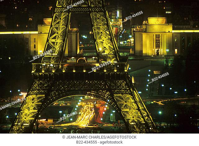 The Eiffel tower and the Chaillot Palace. Paris. France