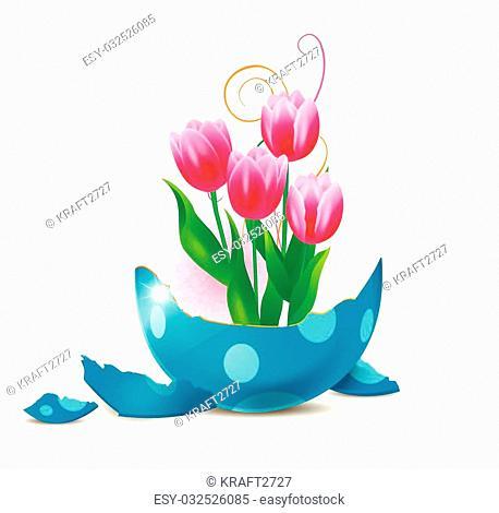 Tulips from a broken easter egg, vector art illustration