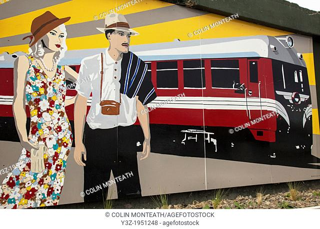 Art deco mural, Ranfurly, Central Otago, New Zealand