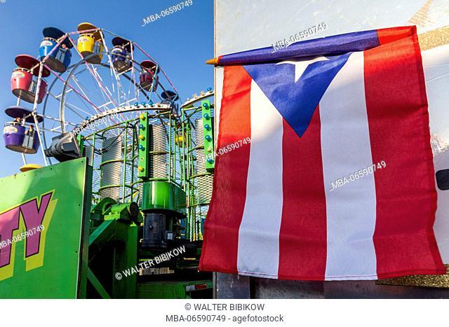 USA, Massachusetts, Cape Ann, Gloucester, St. Peter's Fiesta, Italian-Portuguese fishing community festival, Carnival, Puerto Rican flag