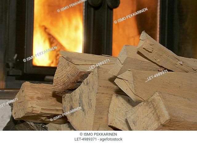 Fireplace with wood  Finland