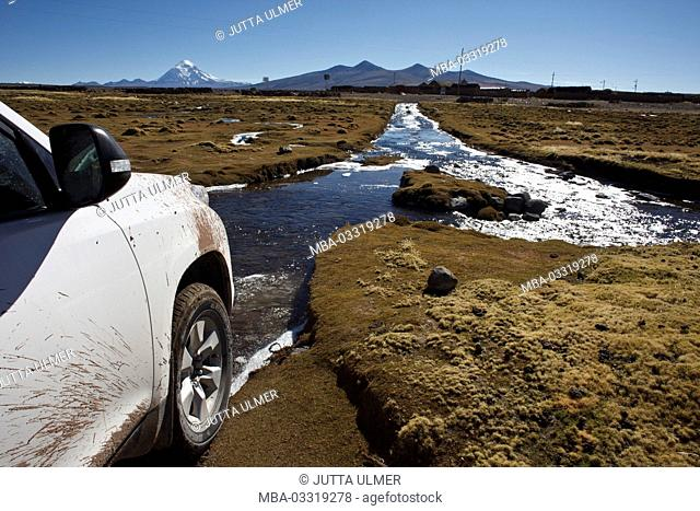 Bolivia, the Andes, car, river way through