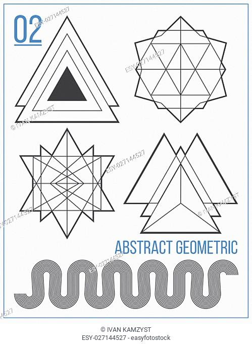 Simple collection with abstract geometric figures, lines, circle, polygon, handwork font