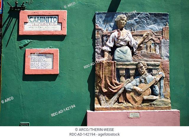 Signs and relief at wall Caminito La Boca Buenos Aires Argentina