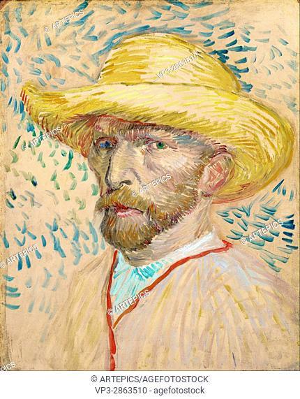Vincent van Gogh - Self-portrait with straw hat - Van Gogh Museum, Amsterdam