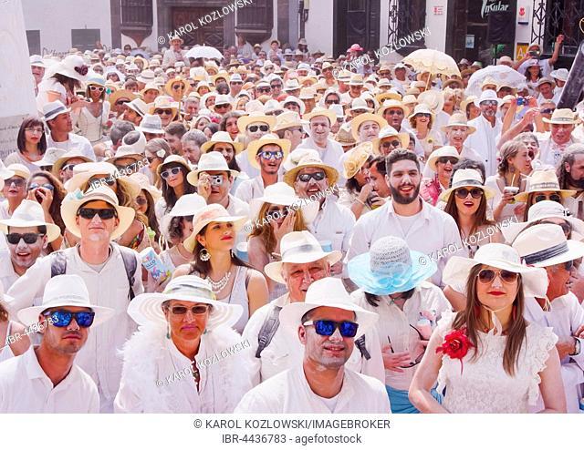 People enjoying the Los Indianos Party during the carnival, Santa Cruz de La Palma, La Palma, Canary Islands, Spain