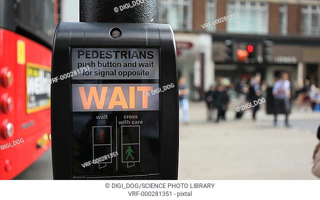 Pedestrian crossing with illuminated word Wait, London, England