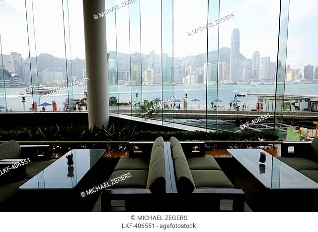 View of Victoria Harbour and Hongkong Island from the InterContinental Hotel, Tsim Sha Tsui, Kowloon, Hongkong, Hong Kong, China, Asia