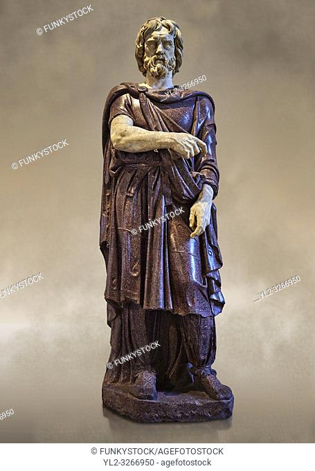 Statue of a Captive Barbarian - a 2nd century Ad Roman sculpture made in Porphyry and white marble from Rome, Italy. Restored by Pietro Benini brother of Bernin